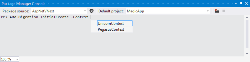 EF Core NuGet Commands Tab Expansion