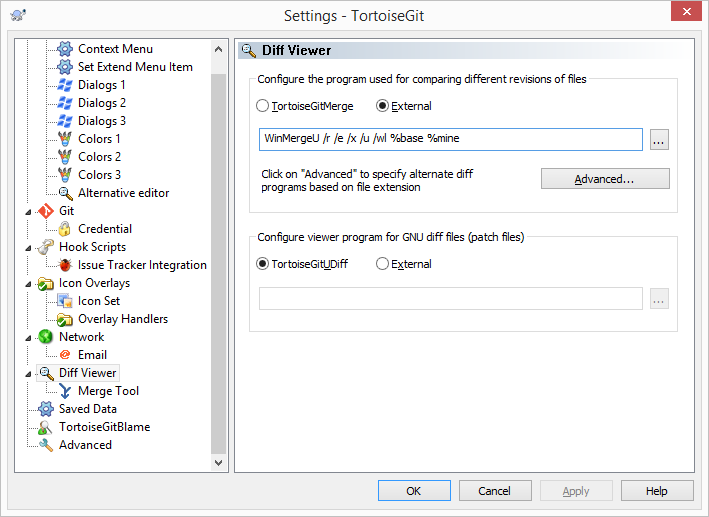 TortoiseGit Diff Viewer Settings